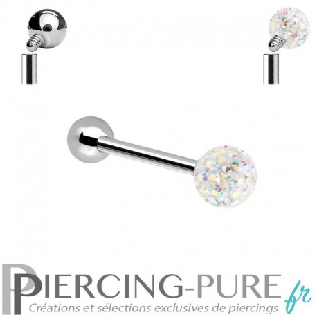 Piercing Langue Titane Cristaux blancs irisé - interne