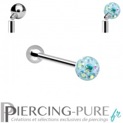 Piercing Langue Titane Cristaux bleu irisé - interne