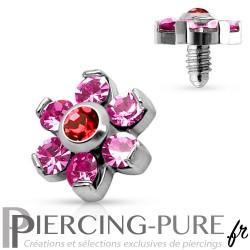 Microdermal fleur de cristaux roses 6mm