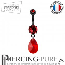Piercing Nombril Blackline et Swarovski Elements rouges