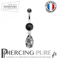 Piercing Nombril goutte Swarovski Elements Black Patina