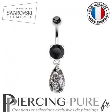 Piercing Nombril goutte Swarovski Elements Black Patina
