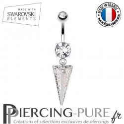 Piercing Nombril spike Swarovski Elements Rose Patina