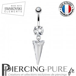Piercing Nombril spike Swarovski Elements Blanc