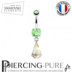 Piercing Nombril goutte de pluie Swarovski Elements