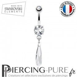 Piercing Nombril goutte Swarovski Elements Crystal