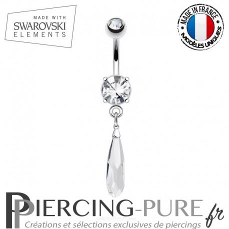 Piercing Nombril goutte Swarovski Elements Crystal