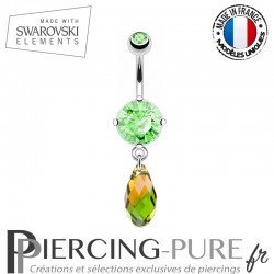 Piercing Nombril briolette Swarovski Elements