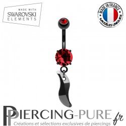 Piercing Nombril Blackline et vague Swarovski Elements