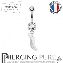 Piercing Nombril vague Swarovski Elements