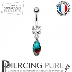 Piercing Nombril briolette bleu et rouge Swarovski Elements