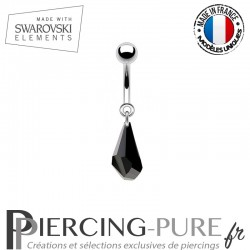 Piercing Nombril goutte polygone Swarovski Elements Jet