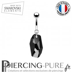 Piercing Nombril meteor Swarovski Elements Jet