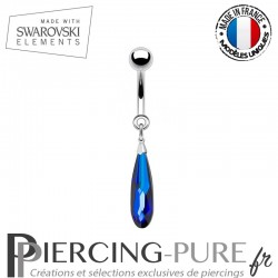 Piercing Nombril goutte Swarovski Elements Bermuda blue