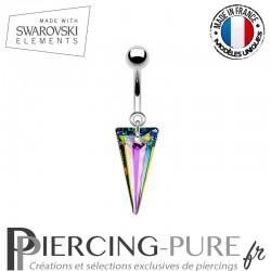 Piercing Nombril spike Swarovski Elements Crystal Vitrail