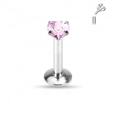 Piercing Labret Acier coeur griffé rose