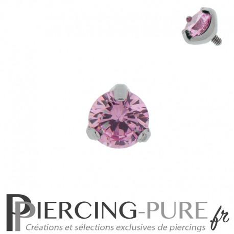 Microdermal Pierre griffée rose 5mm