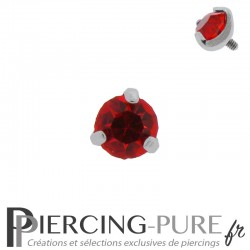 Microdermal Pierre griffée rouge 5mm