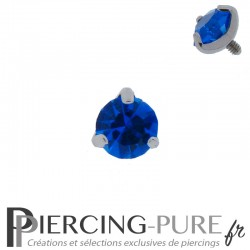 Microdermal Pierre griffée bleue 5mm