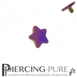 Microdermal étoile Acier plaqué Titane violet