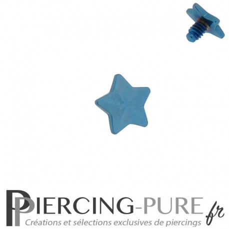 Microdermal étoile Acier plaqué Titane bleu