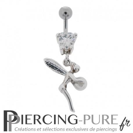 Piercing Nombril Argent 925 fée et Perle naturelle