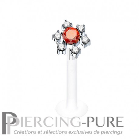 Piercing Labret Bioflex fleur Cristaux griffés