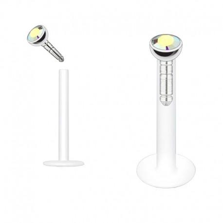 Piercing Labret Flexible Cristal clos blanc irisé