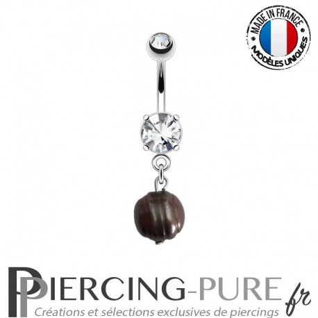 Piercing Nombril Cristal et Perle de culture Prussian blue