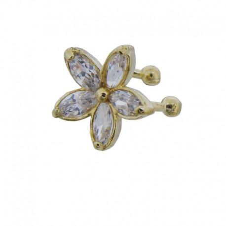 Bague d'oreille dorée Fleur de Cristaux