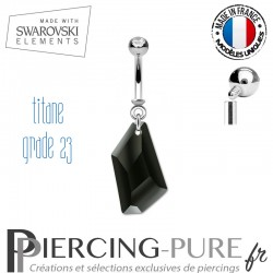 Piercing Nombril De-Art Swarovski Elements Crystal Jet