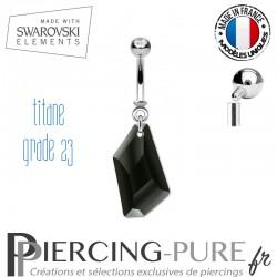 Piercing Nombril De-Art Swarovski Elements Crystal Jet
