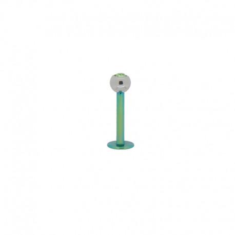 Piercing Labret 1,2mm Acier vert et pierre verte