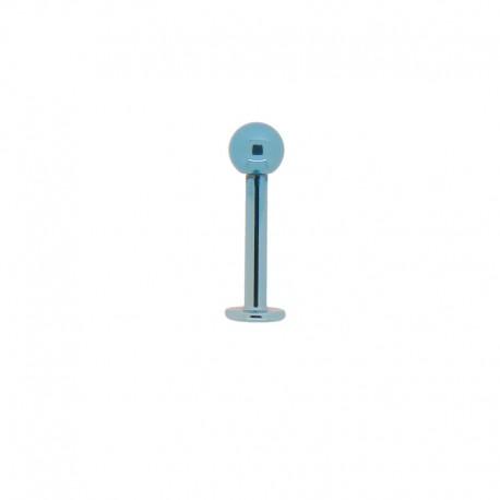 Piercing Labret 10x1,6mm Acier bleu - 4mm