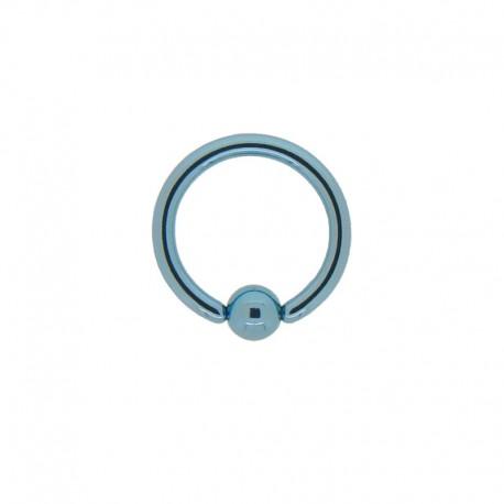 Anneau bille clipsée Acier bleu - 1,2x8x3mm