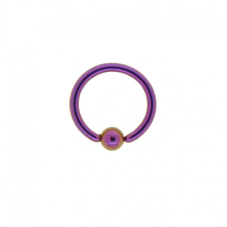 Anneau bille clipsée Acier violet - 1,2x8x3mm