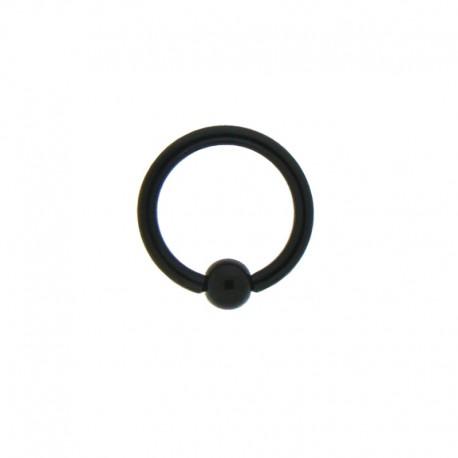 Anneau bille clipsée Acier noir - 1,2x8x3mm