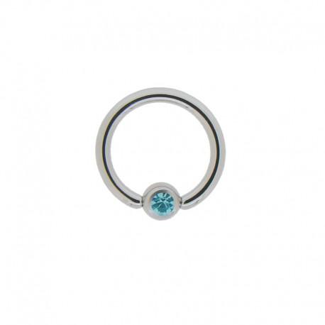 Anneau Acier clipsé pierre turquoise - 1,2x8x3mm
