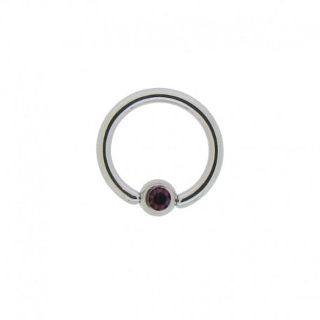 Anneau Acier clipsé pierre violette - 1,2x8x3mm