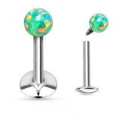 Piercing Labret boule d'Opale verte