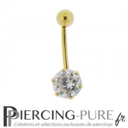 Piercing Capuchon vertical Or 18K et Cristal griffé