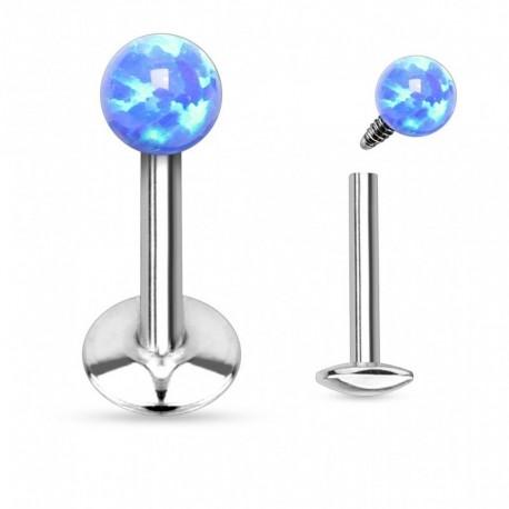 Piercing Labret boule d'Opale bleue
