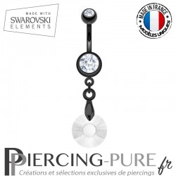 Piercing Nombril Blackline Soleil Swarovski Elements Crystal givré