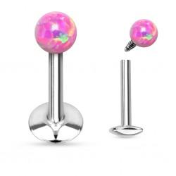 Piercing Labret boule d'Opale rose