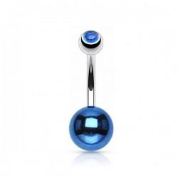 Piercing Nombril Acier anodisé bleu foncé et cristal