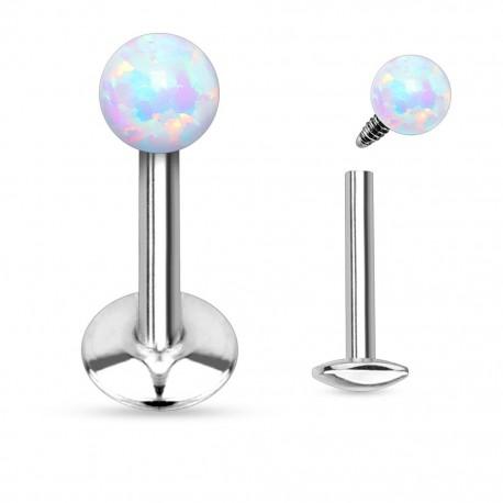 Piercing Labret boule d'Opale blanche