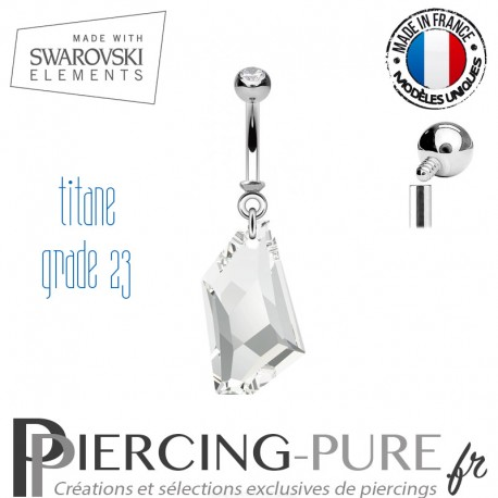 Piercing Nombril De-Art Swarovski Elements Crystal Blanc