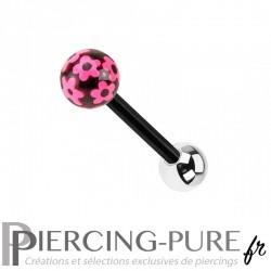 Piercing Langue Acier noir et fleurs roses