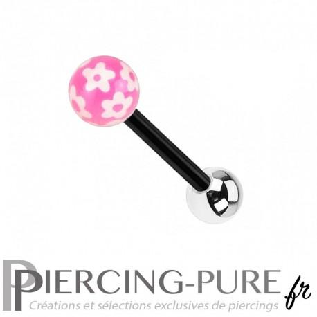 Piercing Langue Acier noir et fleurs - rose