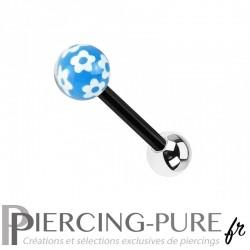 Piercing Langue Acier noir et fleurs - bleu